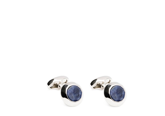 Sodalite and Rhodium Plated Oval