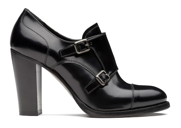 Polished Fumè Heeled Monk Strap