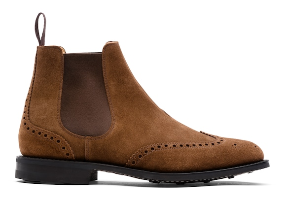 Suede Full Brogue Chelsea Boot